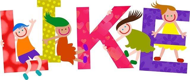 Dibujo de niños felices en las letras LIKE.
